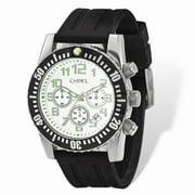 Mia Diamonds Mens Chisel White Dial Silicone Strap Chronograph Watch
