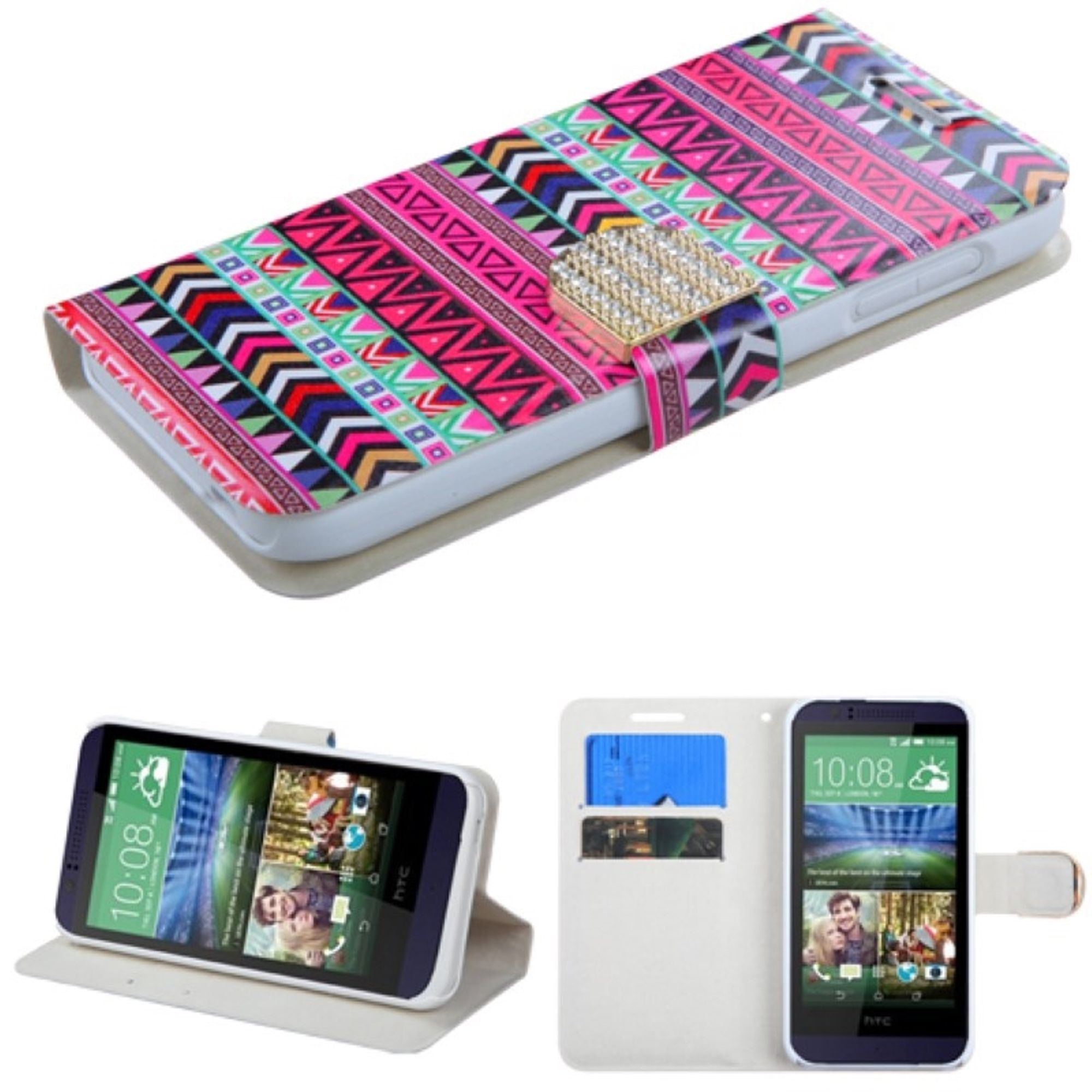 Insten Tribe Impression Flip Leather Wallet Fabric Case w/stand/card holder/Diamond For HTC Desire 510 - Red/Colorful