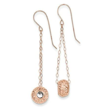 14k Rose Gold Chain w/ Diamond Cut Puff Donut Bead Dangle Earrings 51mm x 8mm