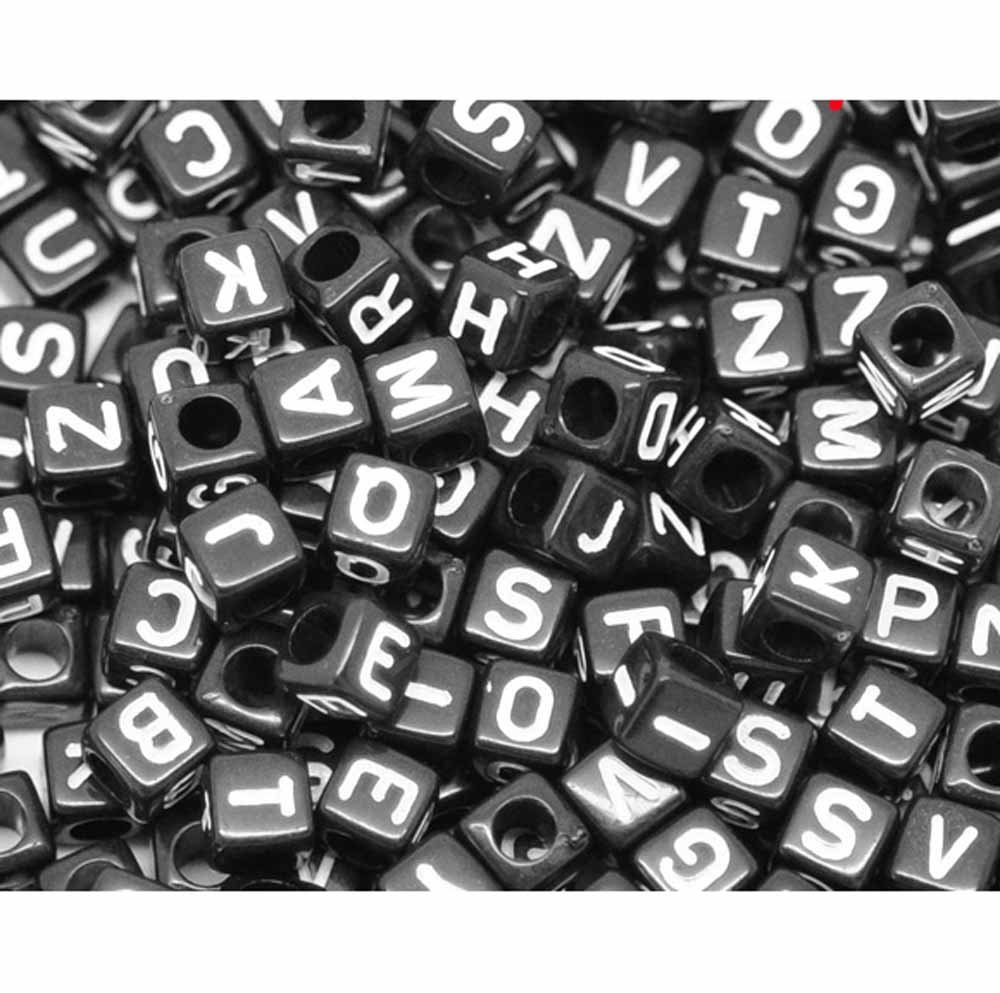 "450 Mixed White on Black Acrylic Alphabet /Letter ""A-z"" Cube Spacer, Loose Beads, 6mm 1/4 inch"