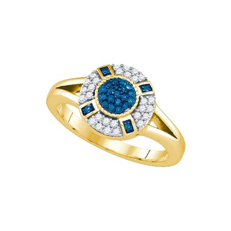 10kt Yellow Gold Womens Round Blue Colored Diamond Circle Cluster Ring (.38 -