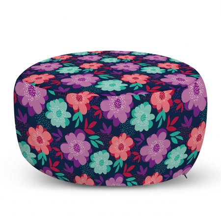 Floral Ottoman Pouf, Colorful Abstract Blossoms on a Dark Blue Background Modern Romantic Motif Print, Decorative Soft Foot Rest with Removable Cover Living Room and Bedroom, Multicolor, by Ambesonne