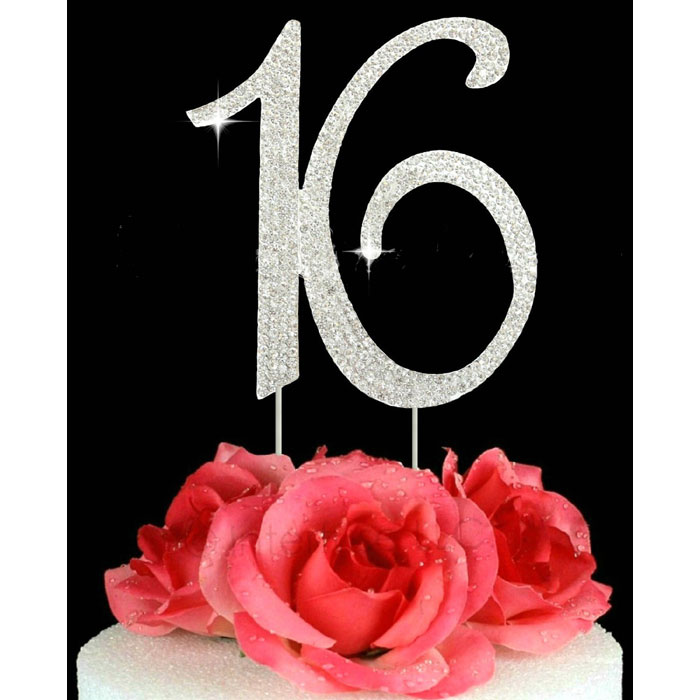 16th Birthday Cake Toppers Number 16 Bling Crystal Cake Topper Silver or Gold or Pink