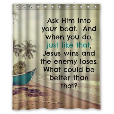 DEYOU Bible Verse Shower Curtain Polyester Fabric Bathroom Size 60x72 Inches