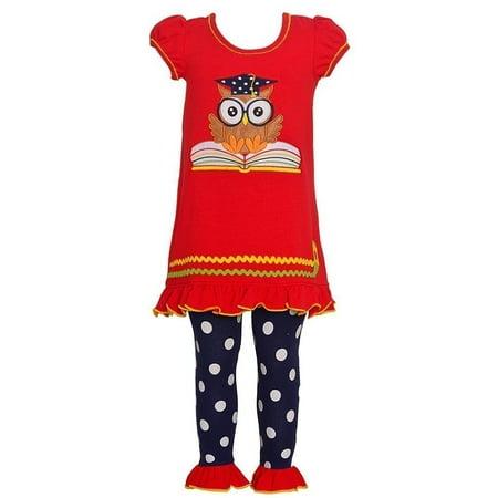 Polka Dot Ruffle Legging - Bonnie Jean Little Girls Red Owl Applique Polka Dot 2 Pc Legging Outfit