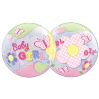 22 Inch Baby Girl Butterflies 3D Bubble Balloons, 1 Balloon per package By Qualatex