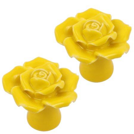 Yellow Drawer Pull (Cabinet Wardrobe Drawer Door Pull Rose Shape Design Ceramic Knobs Yellow 2pcs)