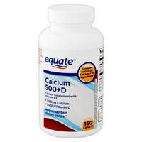Equate Calcium 500 + Vitamin D Caplets, 160 Count
