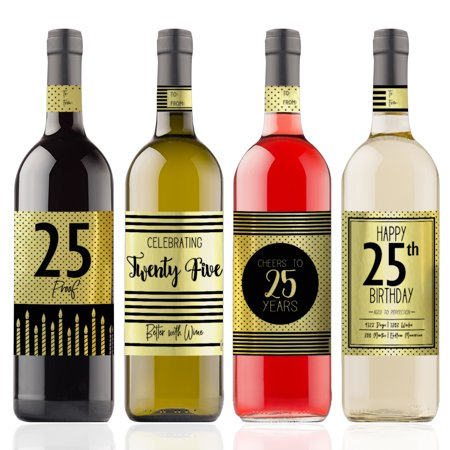 Gold Foil 25th Birthday Wine Labels, 4ct - Black and Gold Stripe and Polka Dot Birthday Party Supplies - 4 Wine Bottle Stickers with Gift Tags
