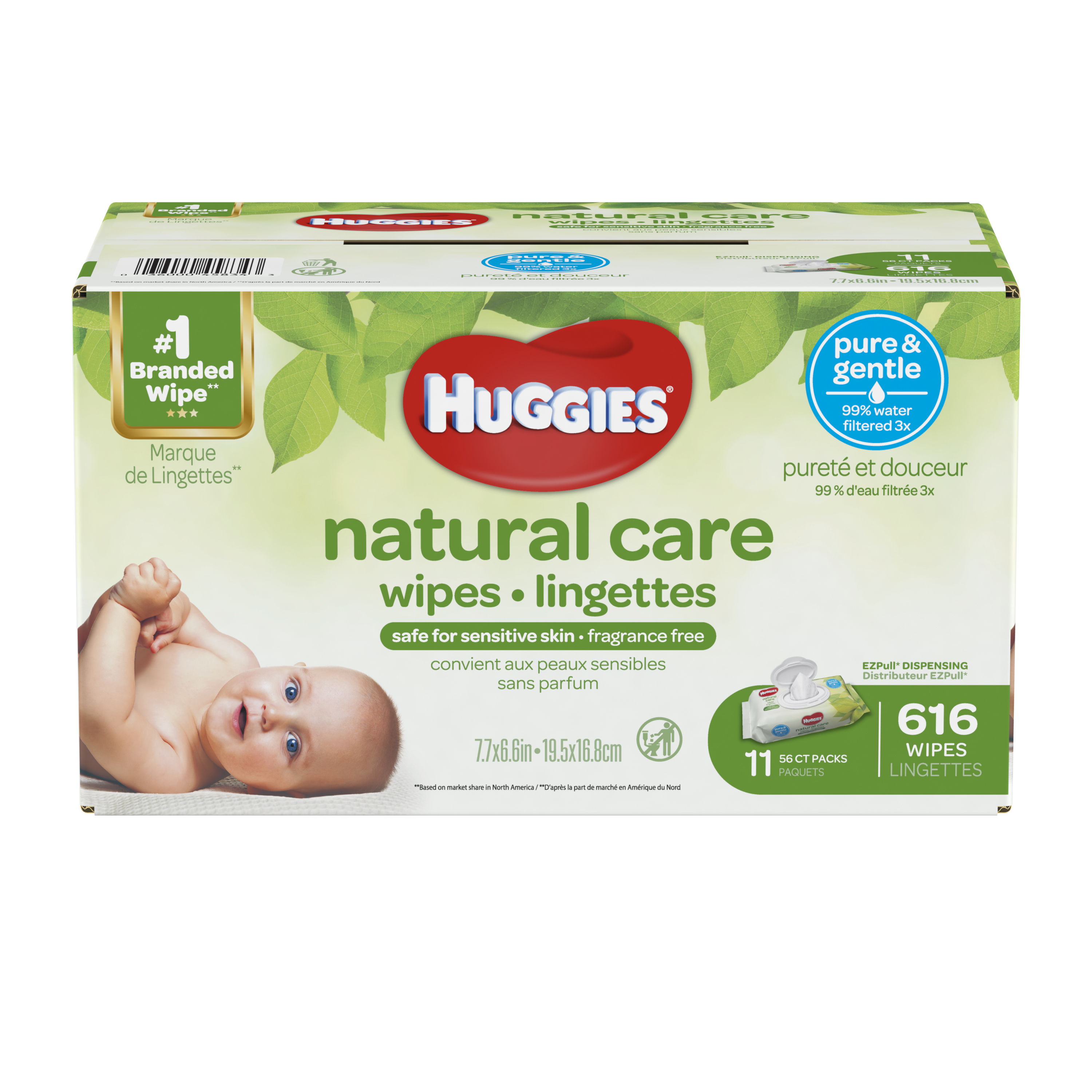 Huggies Natural Care Baby Wipes, Unscented, 3 packs of 56 (168 ct)