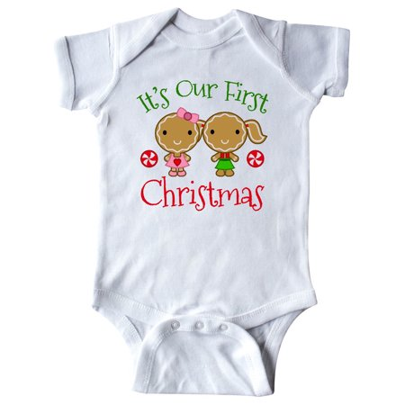 Twins 1st Christmas Gingerbread Girls Infant Creeper ()