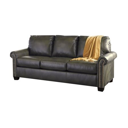 Ashley Lottie Leather Queen Sleeper Sofa In Slate
