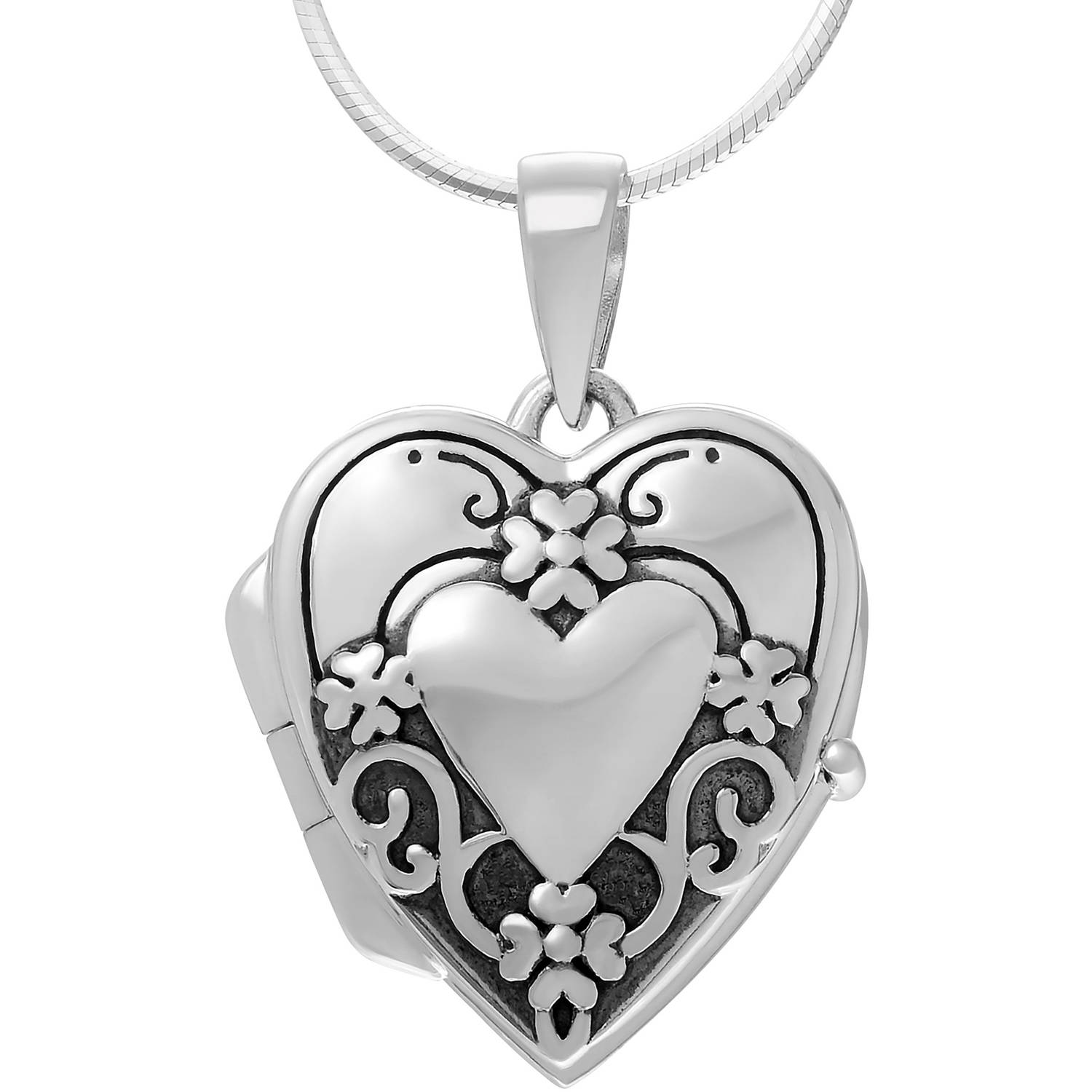 Brinley Co. Women's Sterling Silver Flower and Heart Locket Pendant Fashion Necklace