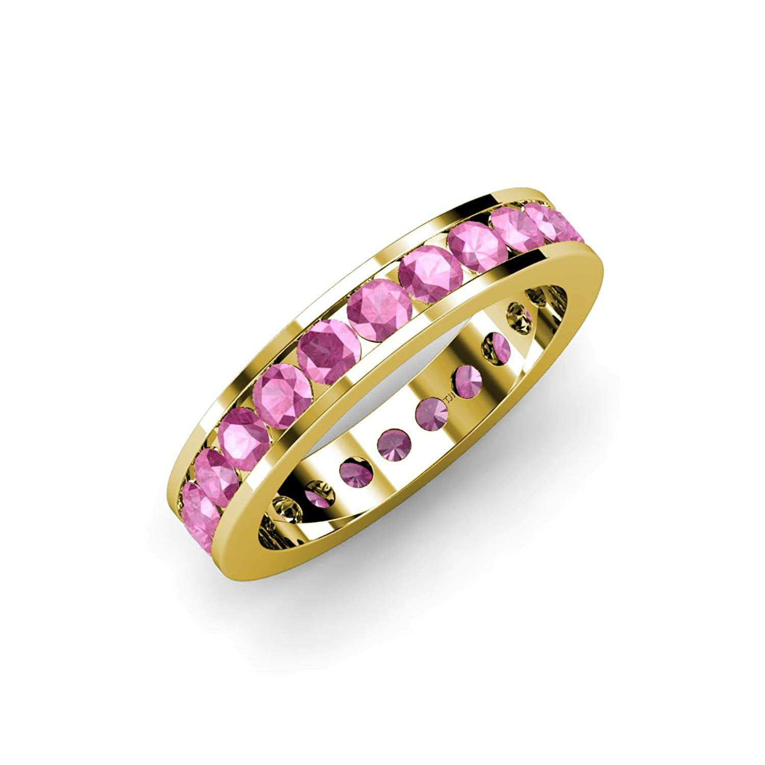 Pink Sapphire Channel Set Eternity Band 2.86 ct tw to 3.36 ct tw in 14K Yellow Gold.size 5.0 by TriJewels