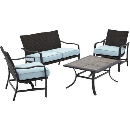 Better Homes & Gardens Piper Ridge 4 Piece Outdoor Conversation Set with Blue