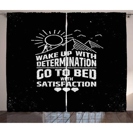 Quote Curtains 2 Panels Set, Hand Drawn Man Carrying the Sun to the Mountain Top Heart Shapes, Window Drapes for Living Room Bedroom, 108W X 96L Inches, Charcoal Grey and