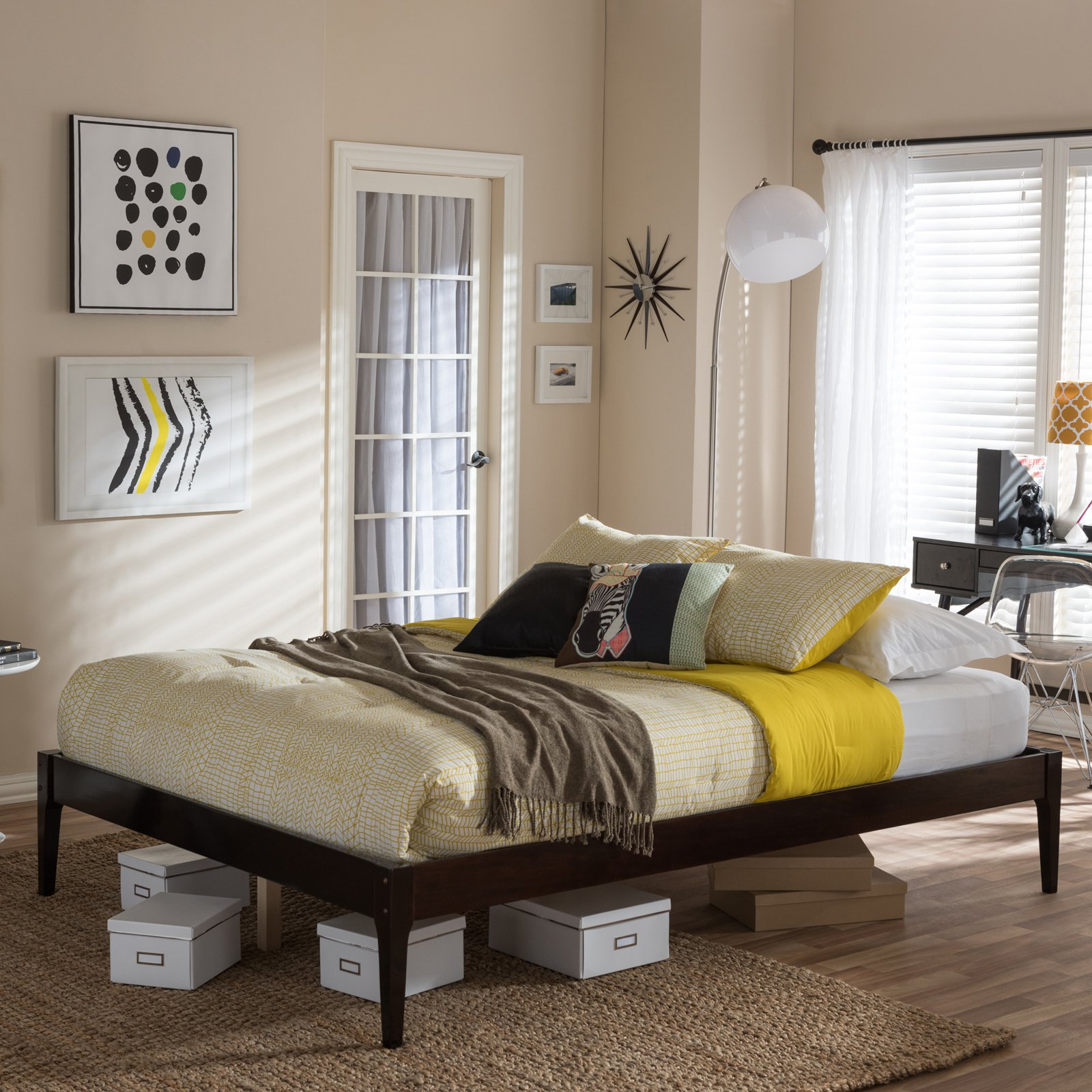 Baxton Studio Bentley Mid-Century Modern Solid Wood Bed Frame, Multiple Finishes, Multiple Sizes