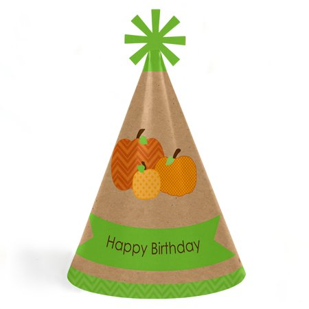 Pumpkin Patch - Fall & Halloween Cone Happy Birthday Party Hats for Kids and Adults - Set of 8 (Standard Size) (Happy Halloween And Happy Birthday)