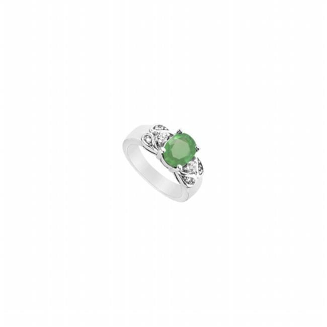 Fine Jewelry Vault UBUJ896AGCZE Created Emerald & CZ Ring, 925 Sterling Silver - 2.25 CT TGW , 2 Stones