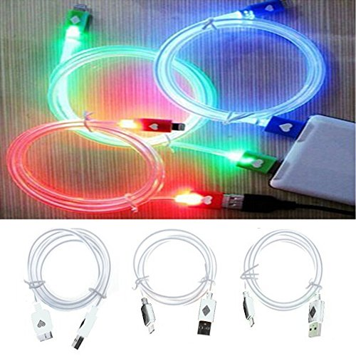 Lot of 3 Wholesale Light Up USB Generic Charger Cords -  LED Charger & Super FAST Sync Data Cables - Fits i Phone 5, 5s, 6, 6 plus, 7 [Bundle, 3 LED Cables] (Solid Light Up Colors - (Red-Green-Blue))