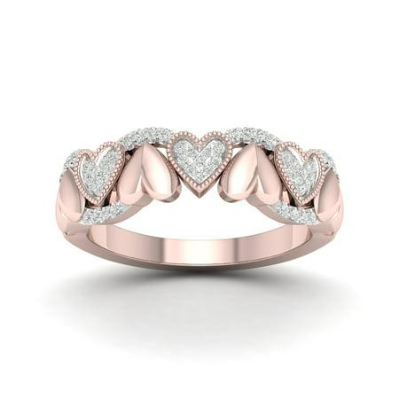 1/6 Ct TDW Diamond 10K Rose Gold Hearts Fashion Ring