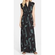French Connection NEW Black Teal Women's Size 6 Printed Maxi Dress $158