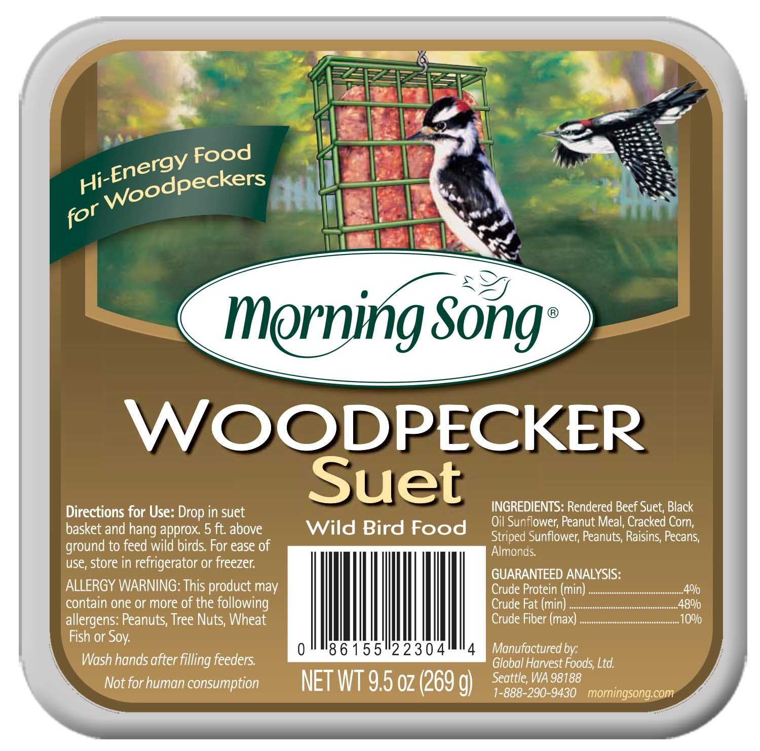 11462 Woodpecker Suet Wild Bird Food, 9.5-Ounce, Filled with seeds and nuts woodpeckers love By Morning Song by