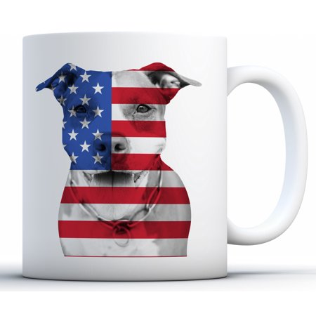 Awkward Styles USA Coffee Mug Pitbull Mugs Dog Lovers Gifts Patriotic July 4th 4th of July Accessories 4th of July Kitchen Decoration Independence Day USA Flag Mug Coffee Lovers Gifts