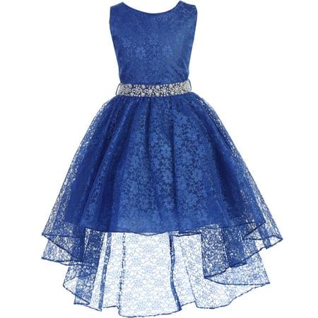 Little Girls Sleeveless Floral Lace Rhinestone High low Party Flower Girl Dress Royal Size 4 (J37K44) (4 Flower Girls)