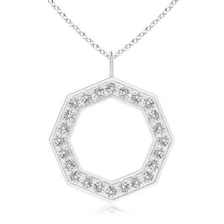Valentine Jewelry gift - Pave-Set Diamond Octagon Pendant in 14K White Gold (1.2mm Diamond) - SP0904D-WG-IJI1I2-1.2