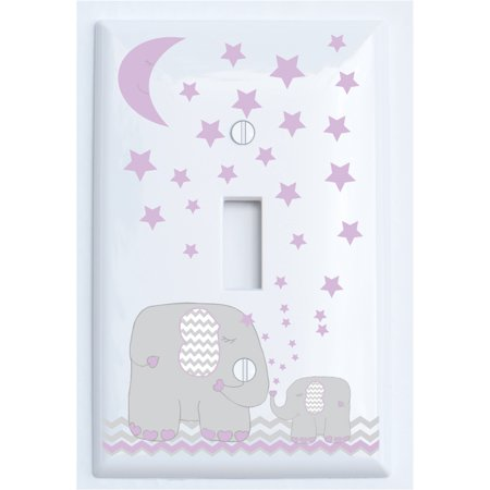 Purple Elephant Light Switch Plate And Outlet Covers With Moon Stars Nursery Decor Grey Chevrons Single Toggle