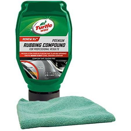 Turtle Wax Premium Rubbing Compound (18 oz) Bundled with a Microfiber Cloth (2