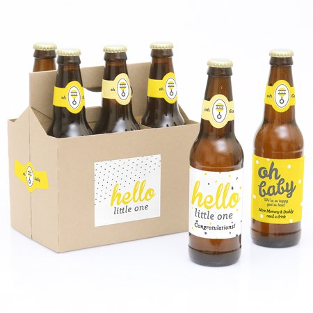 Hello Little One - Yellow and Gray - 6 Beer Bottle Labels Neutral Baby Shower with 1 Beer Carrier