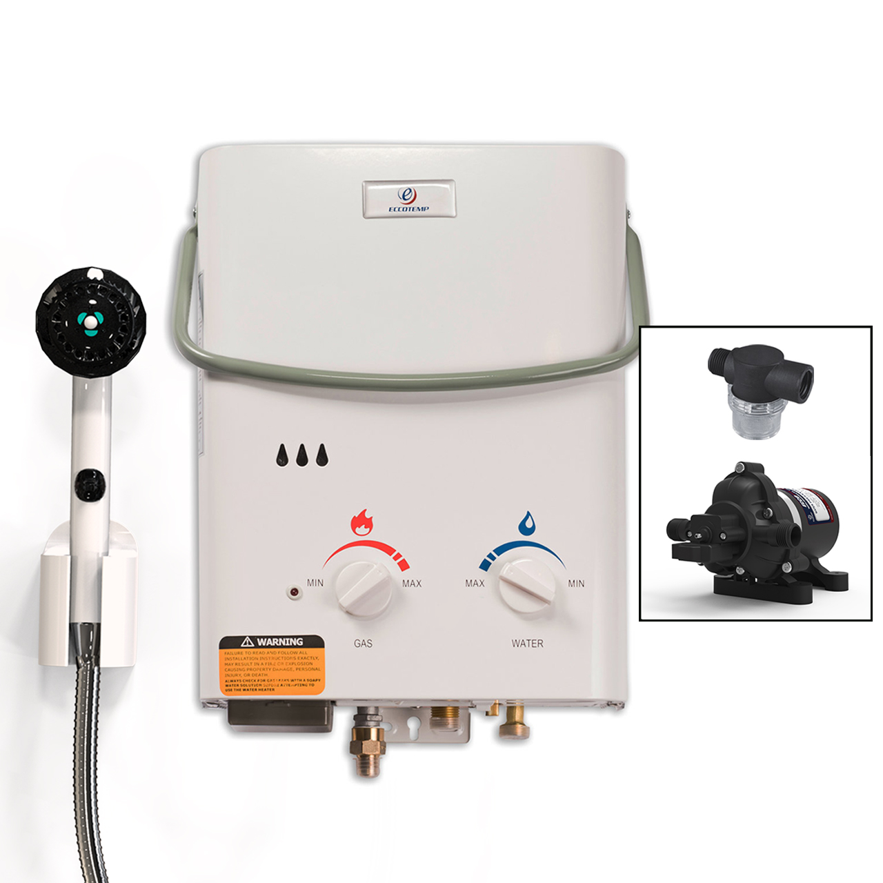 Eccotemp Portable Tankless Water Heater with EccoFlo Pump and Strainer