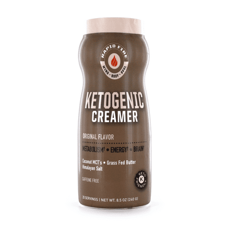 Rapid Fire Ketogenic Original Coffee Creamer with MCTs, Grass Fed Butter, Himalayan Pink Salt, Keto Diet, 8.5 oz., 20 Servings