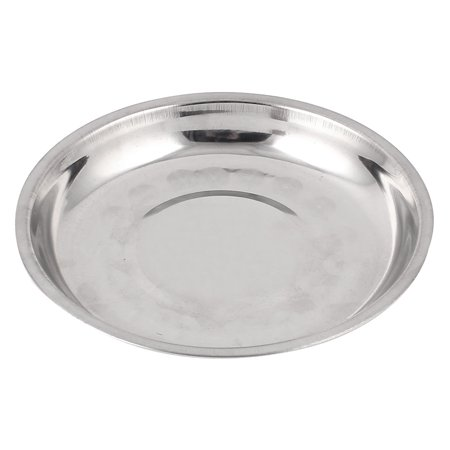 Unique Bargains Round Stainless Steel Dinner Plate Dish Food Fruit Holder Container Tray 15cm