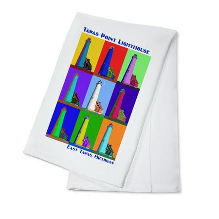 Pop Art - Tawas Point Lighthouse - East Tawas, Michigan - Lantern Press Poster (100% Cotton Kitchen Towel) (Tawas Point)