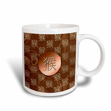3dRose Chinese Sign of the Monkey, Leaves in Orange, Taupe, and Gold, Ceramic Mug, 15-ounce - Leaves Of Gold