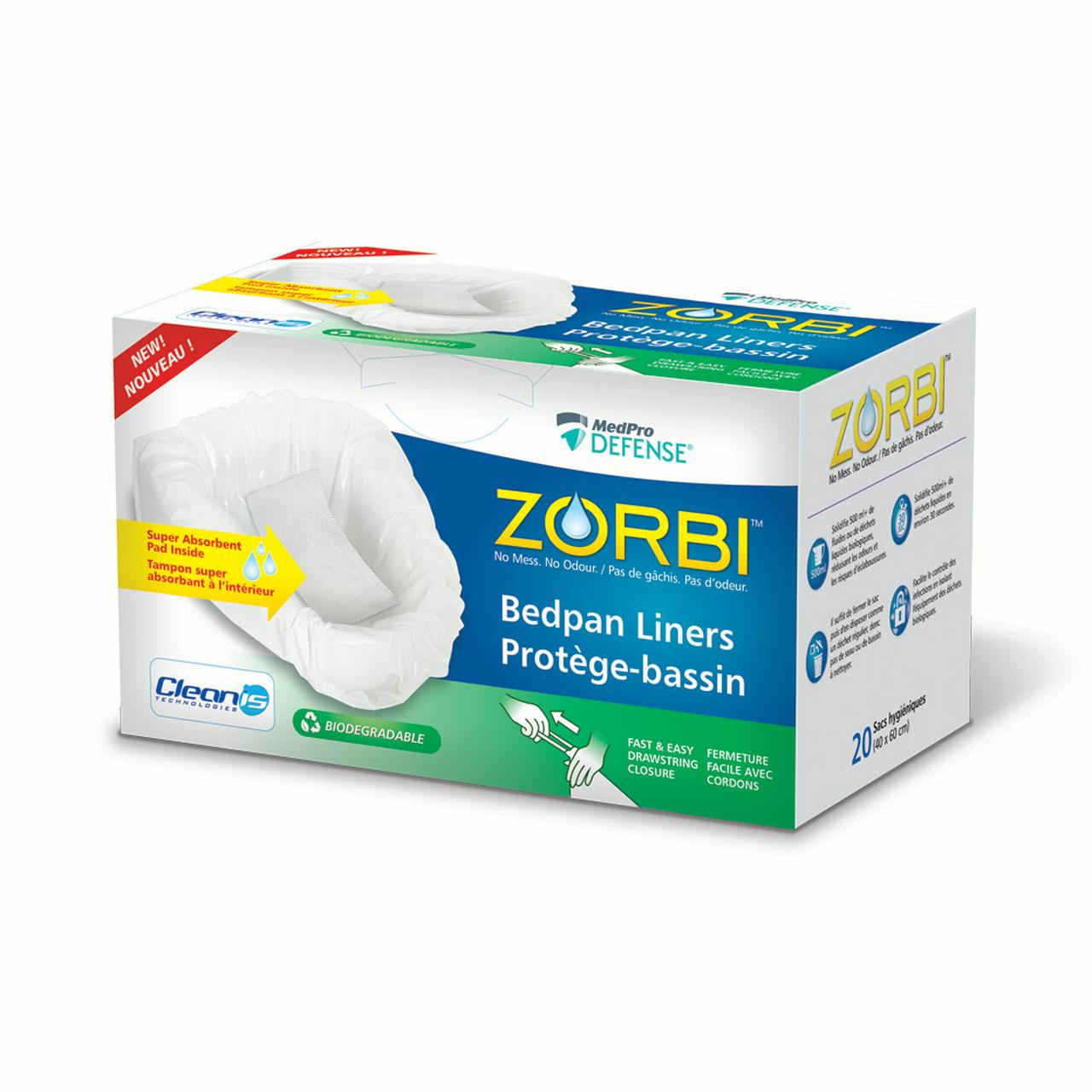 Zorbi Biodegradable Commode and Bedpan Liner Bags with Super Absorbent Pads, White, 20 Count