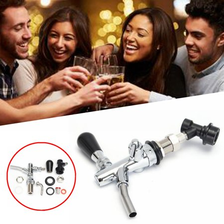 Silver Draft Beer (Draft Beer Faucet Dispenser With Flow Controller Chrome Plating Shank Tap Kit)