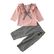 2PCS Toddler Kids Baby Girls Ruffle Tops Plaids Pants Winter Outfits Clothes
