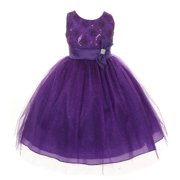 Girls Purple Organza Sequin Sparkle Tulle Special Occasion Dress 16