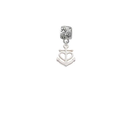 Silvertone Anchor with Heart - Paw Print Charm Bead