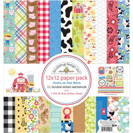 """Doodlebug Double-Sided Paper Pack 12""""X12"""" 11/Pkg-Down On The Farm"""