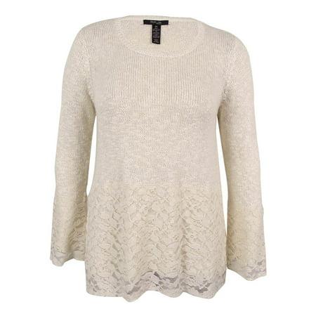 5a5e0f3bc4c5b Style   Co. Women s Plus Size Bell-Sleeve Lace Metallic Sweater