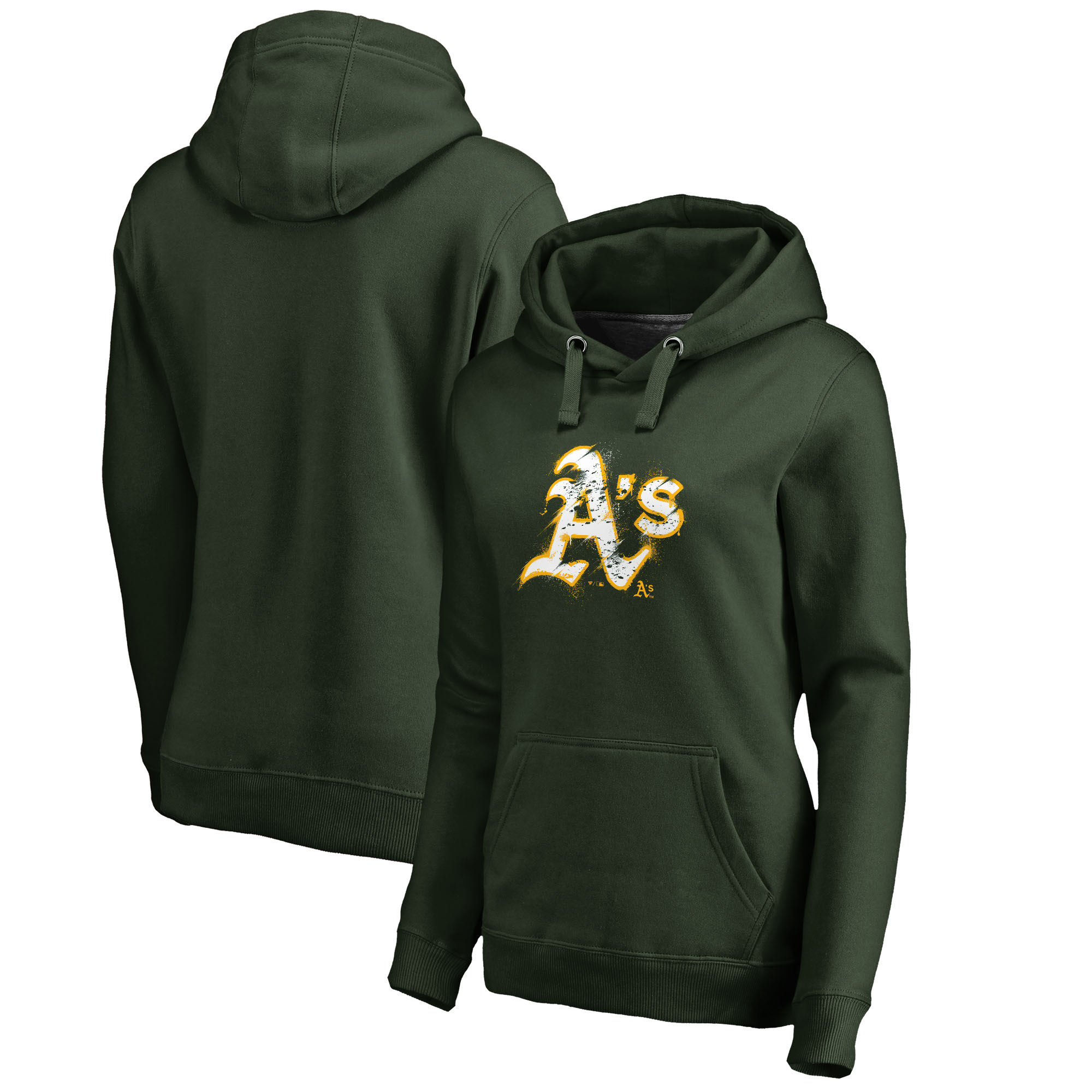 Oakland Athletics Fanatics Branded Women's Splatter Logo Pullover Hoodie - Green