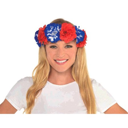 July 4th Wreaths (4th of July Red White and Blue Flower Head Wreath)