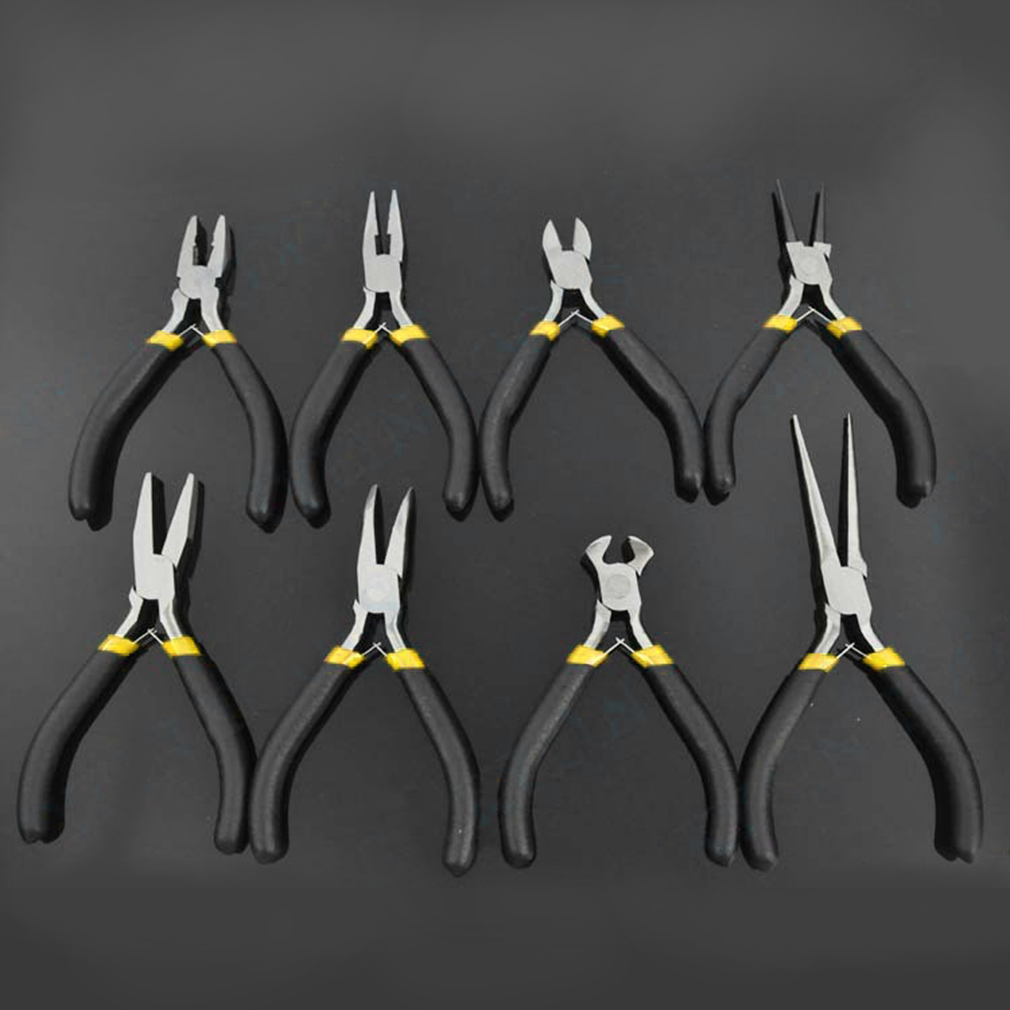 Light Weight Durable Carbon Steel Forging Jewellery Making Beading Mini Pliers Tools Kit Set Round Flat Long Nose