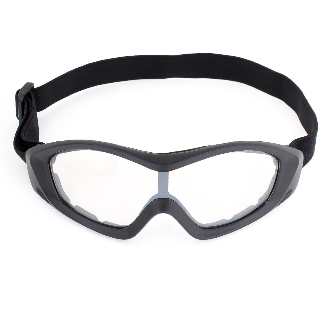 Unique Bargains Unisex Ski Racing Anti Dust Black Full Rim Clear Lens Goggles Glasses