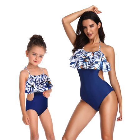 S-XL 2-8 Years Mom and Me One-Piece Swimwear Family Matching Swimsuit Beachwear One-Piece Halter Backless Hollow Out Swimming Costume Bathing Suit Cut Out Halter Swimsuit